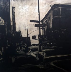 Houston Street Late Afternoon, monoprint by Lisbeth Firmin