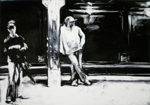 59th Street Station, monprint by Lisbeth Firmin