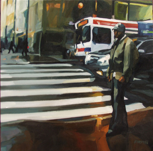 Man Standing, Downtown Philly, painting by Lisbeth Firmin