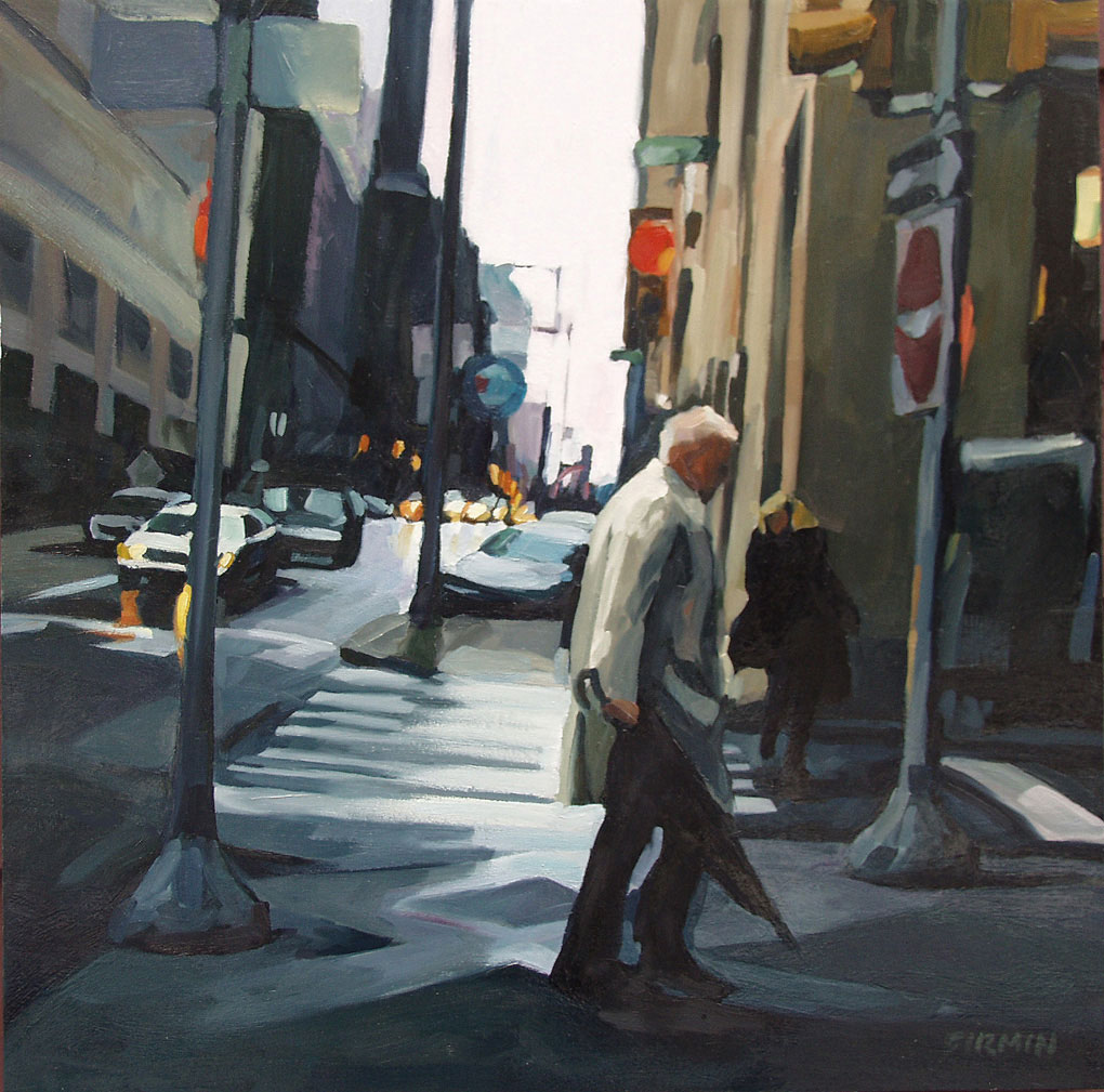 Man Walking, Downtown Philly, painting by Lisbeth Firmin