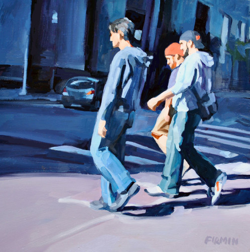 Three Guys, Downtown Philly, painting by Lisbeth Firmin