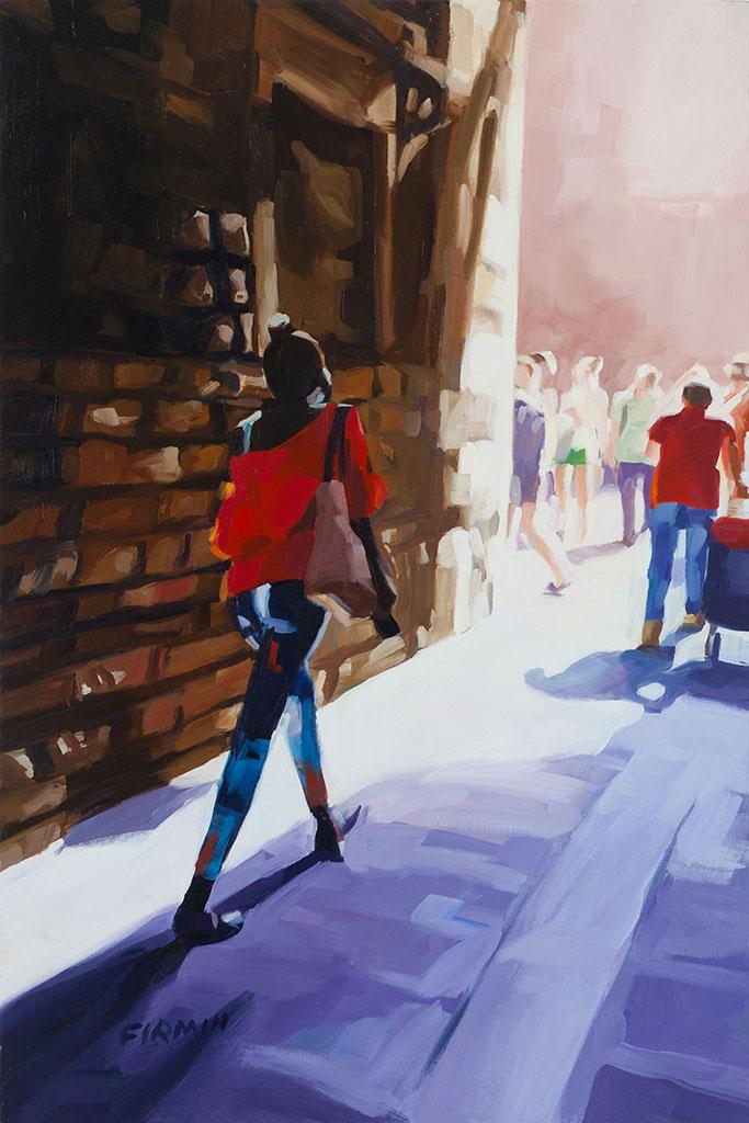 Woman Walking, Barcelona, by Lisbeth Firmin