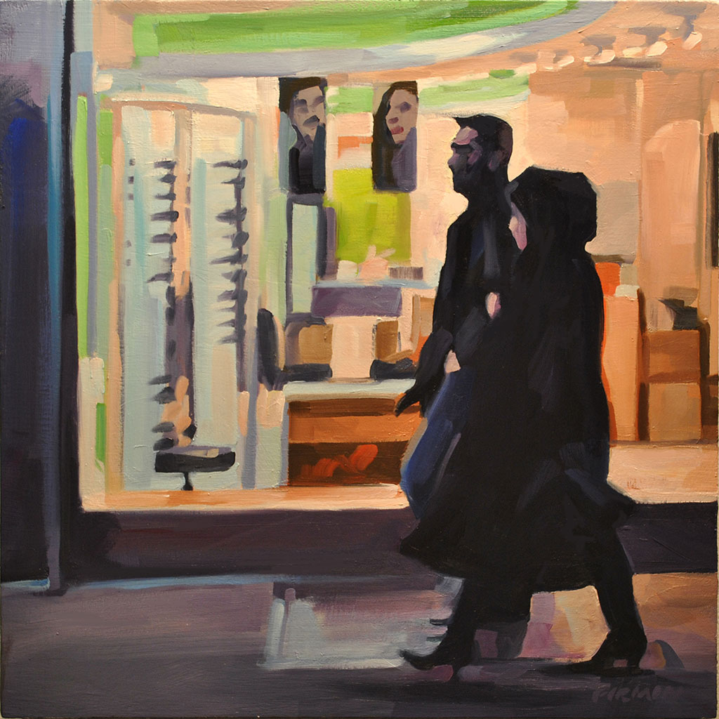 Couple, Chinatown, painting by Lisbeth Firmin