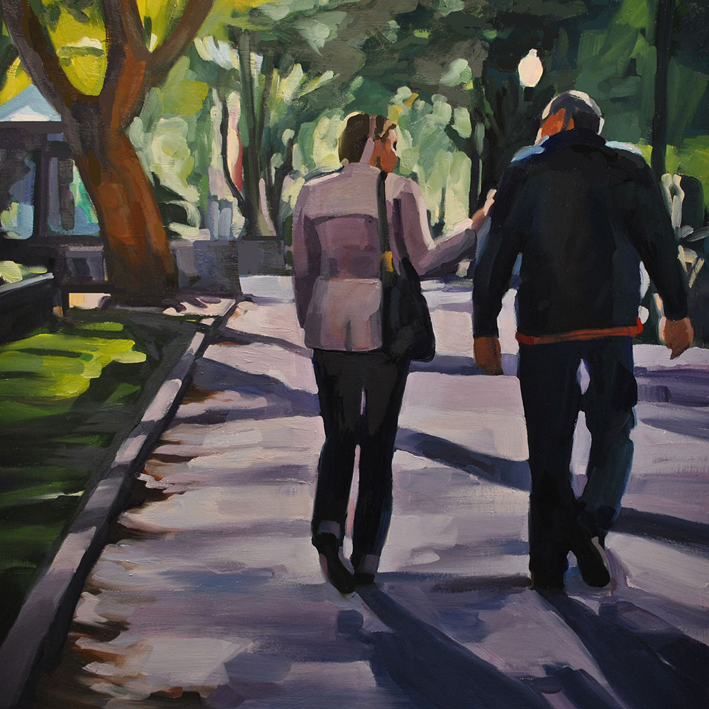 Couple, Rittenhouse Square, painting by Lisbeth Firmin