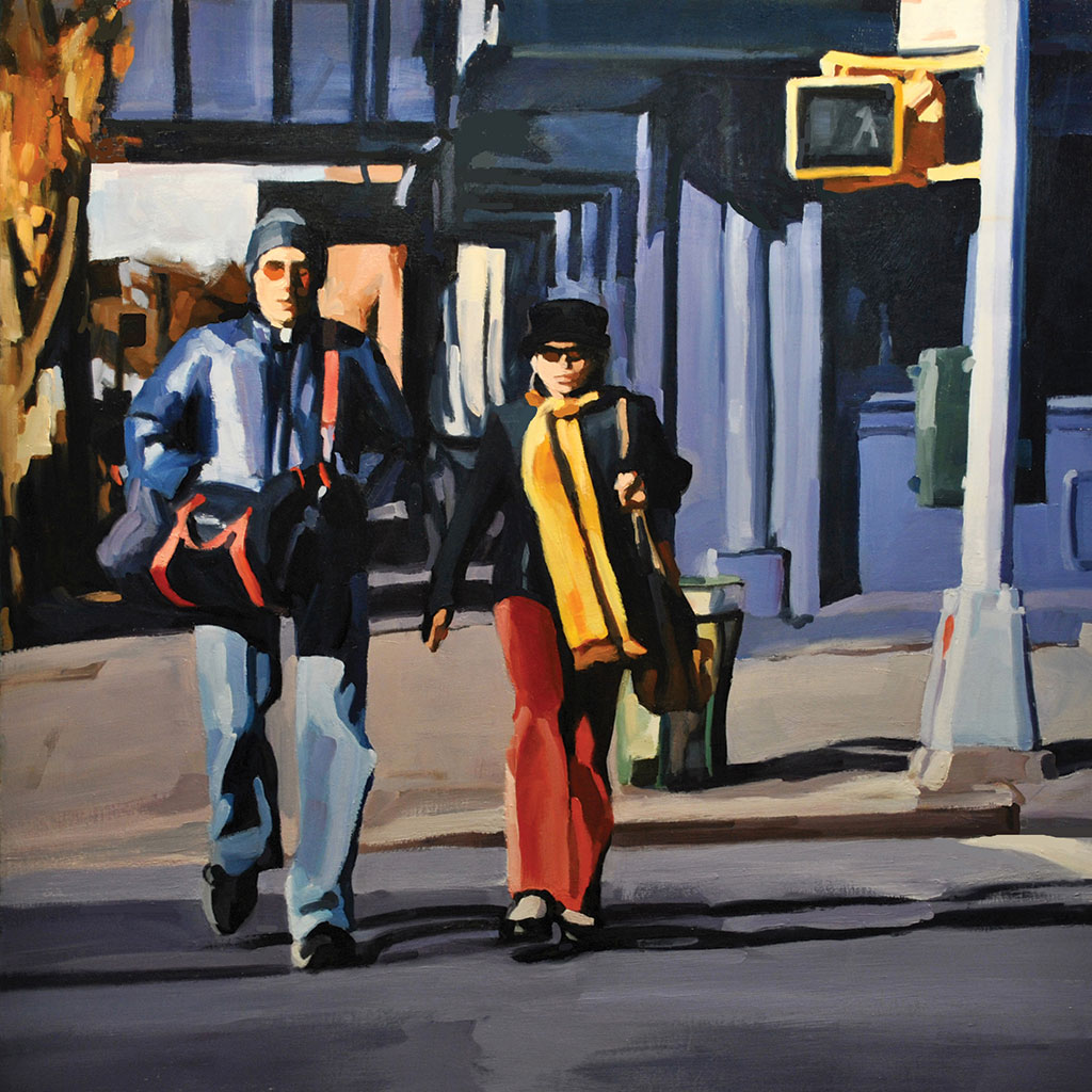 Couple Walking, Chelsea, painting by Lisbeth Firmin