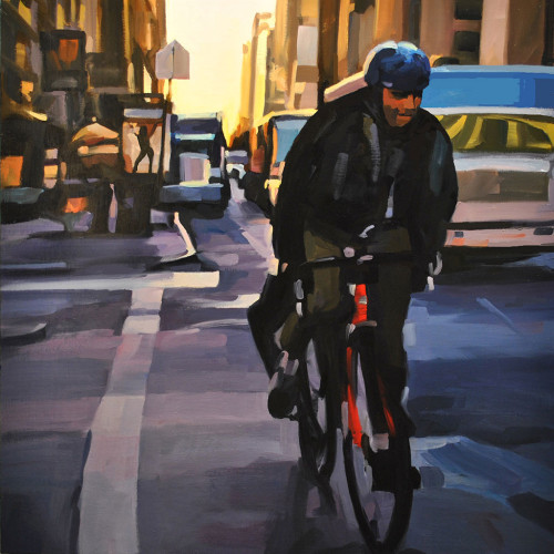 Man on a Bike, East 23rd St., painting by Lisbeth Firmin