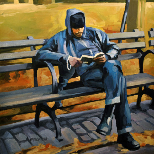 Man Reading, Tompkins Square Park, painting by Lisbeth Firmin
