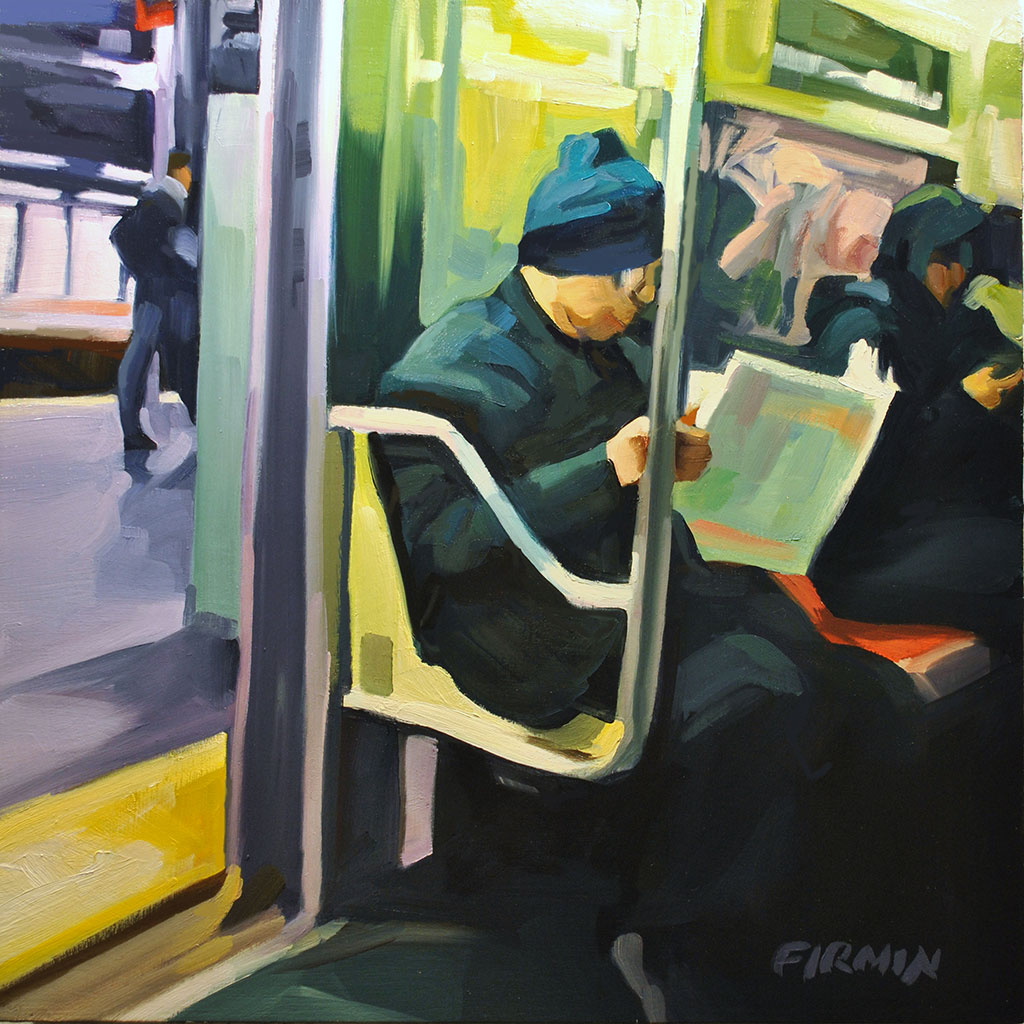 Times Square, C Train, painting by Lisbeth Firmin