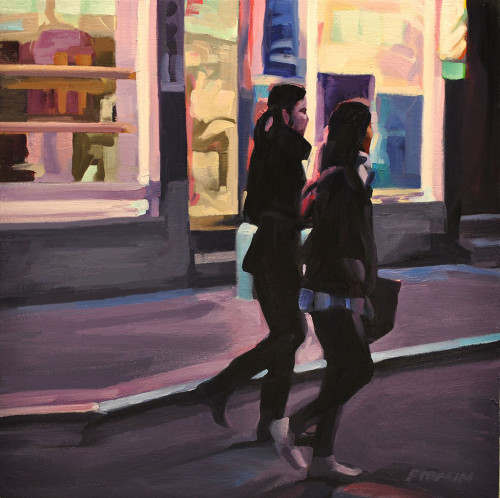 Two Young Women, Chinatown, painting by Lisbeth Firmin