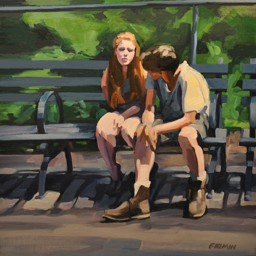 Young Lovers, Tompkins Square Park, painting by Lisbeth Firmin