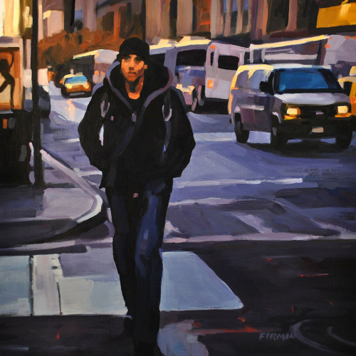 Young Man Walking, East 23rd St., painting by Lisbeth Firmin