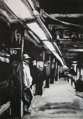 59th Street Station I, print by Lisbeth Firmin