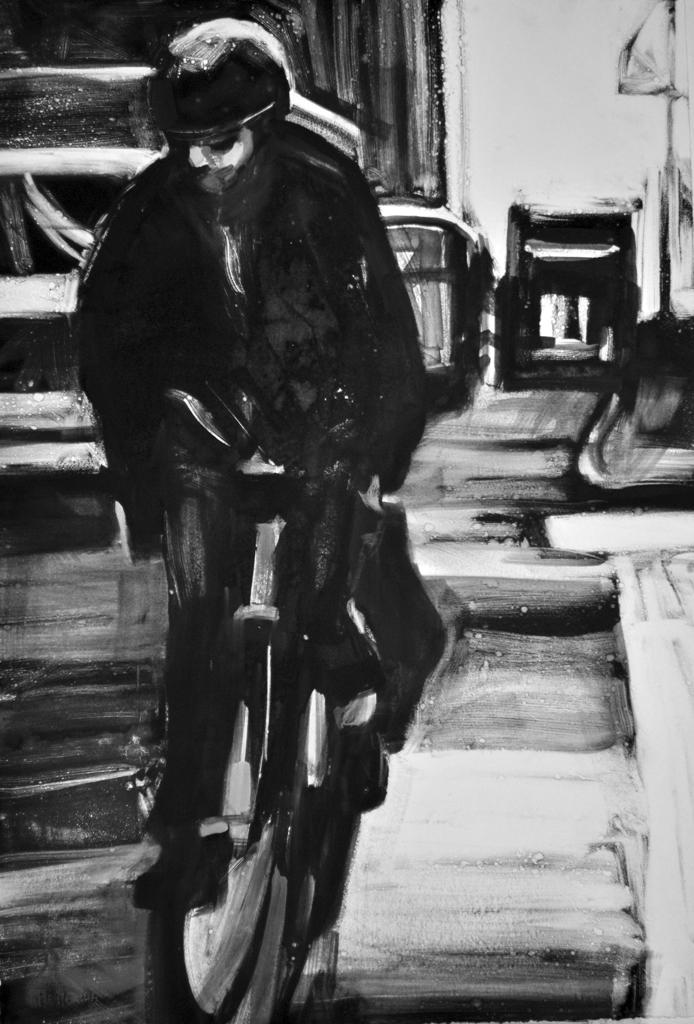 Man on a Bike, monoprint by Lisbeth Firmin