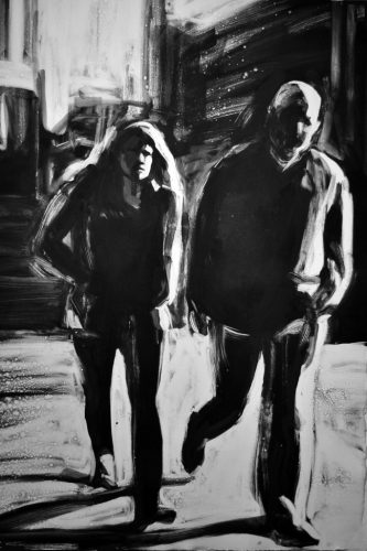 Couple Walking, monoprint by Lisbeth Firmin