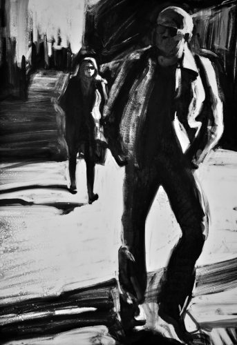 Man in Leather Jacket, monoprint by Lisbeth Firmin