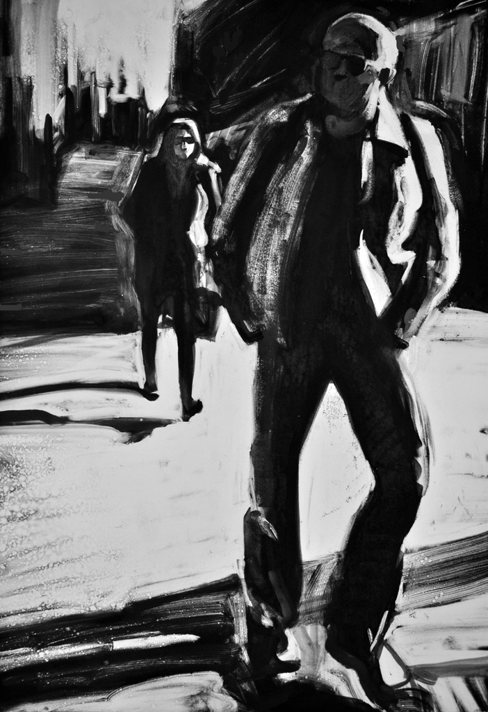 Man in Leather Jacket, monoprint by Lisbeth Firmin