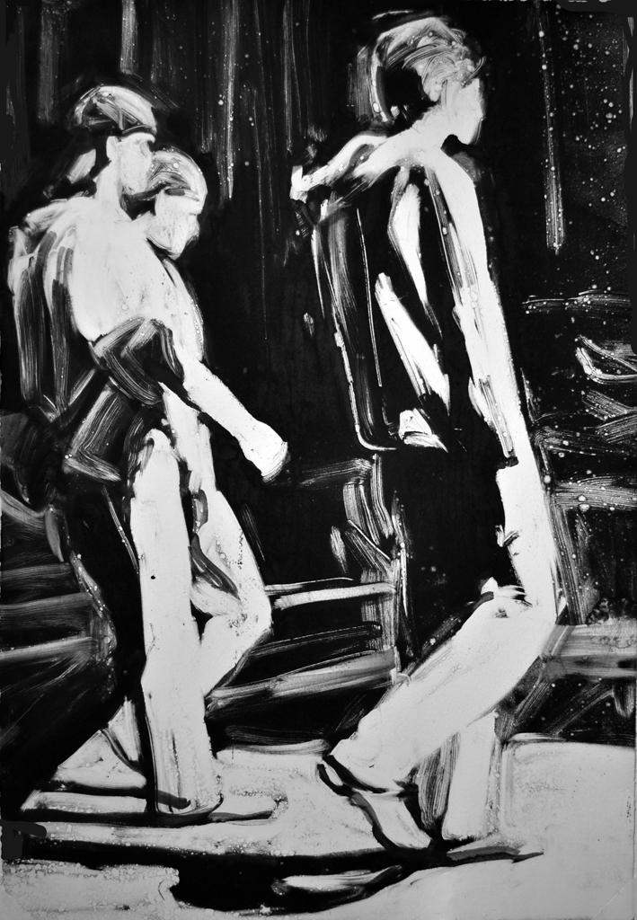 Three Guys Walking, monoprint by Lisbeth Firmin