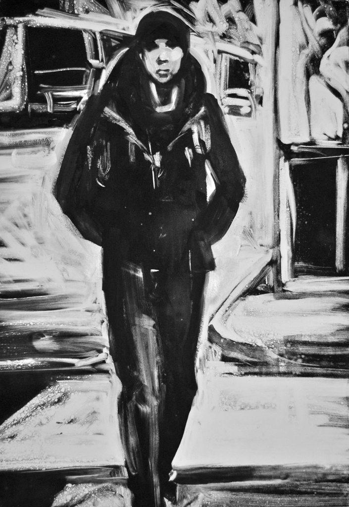 Young Man Walking, monoprint by Lisbeth Firmin