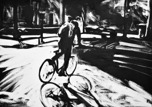 Biker, Rittenhouse Square, print by Lisbeth Firmin