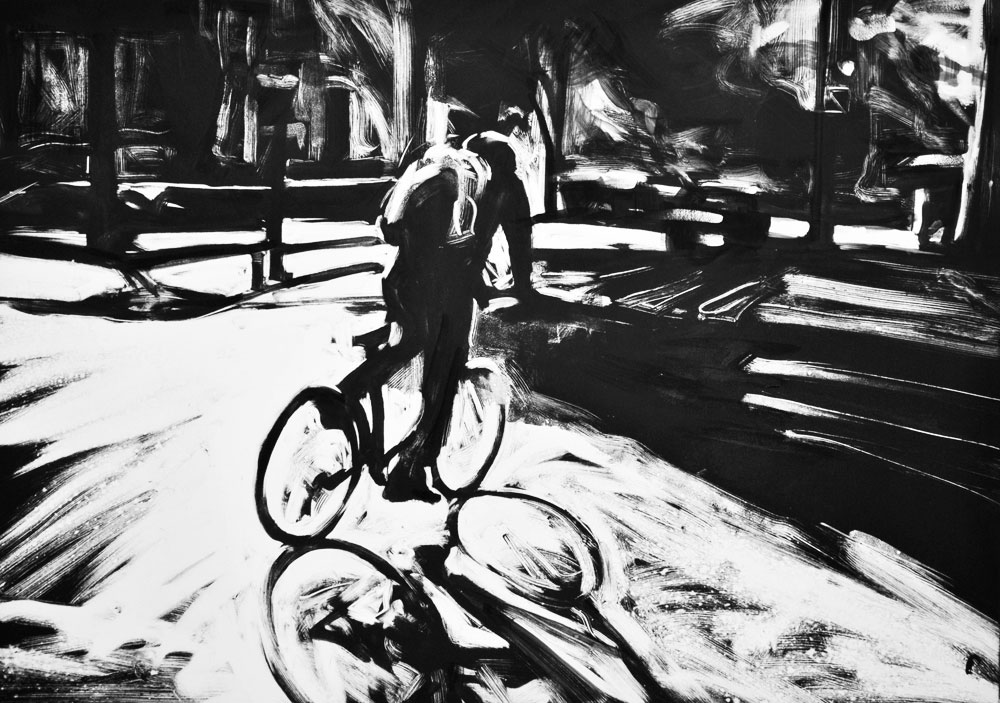 Biker, Rittenhouse Square, print by Lisbeth Firmin