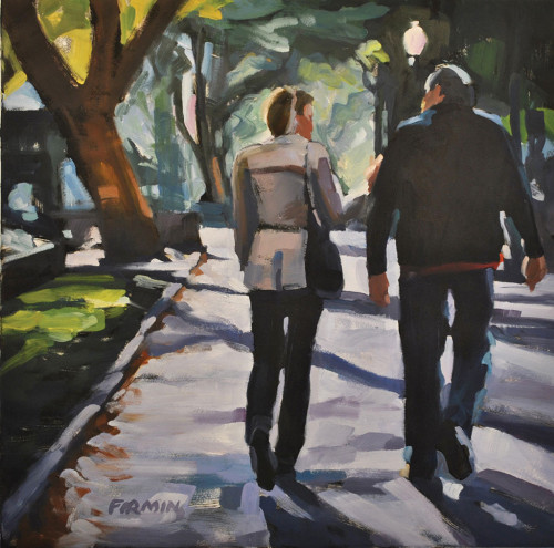 Couple, Rittenhouse Square, print by Lisbeth Firmin