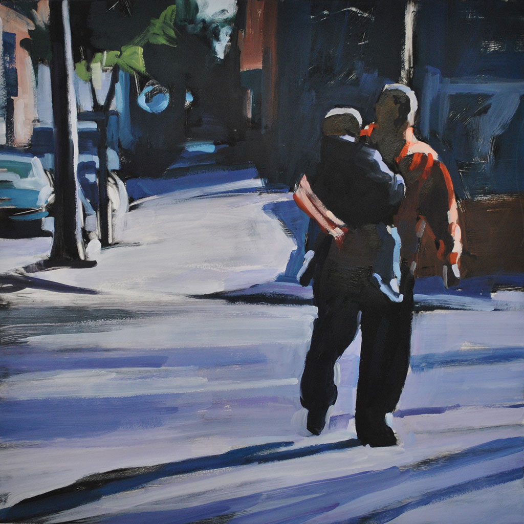 Father & Son, Downtown Philly, print by Lisbeth Firmin