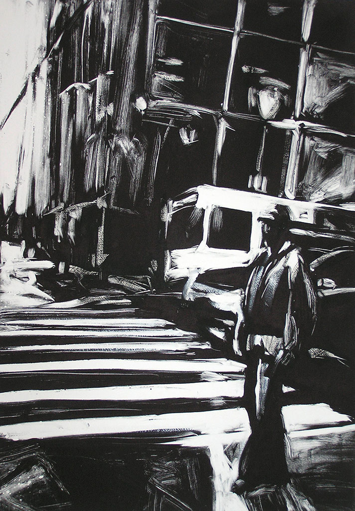 Man Standing, Downtown Philly, print by Lisbeth Firmin