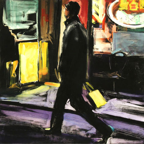 Man Walking, Pell Street, print by Lisbeth Firmin