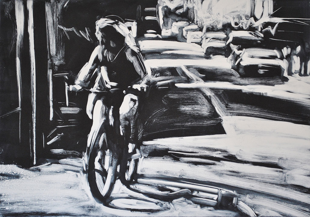 Riding the Bike, Commercial Street, print by Lisbeth Firmin