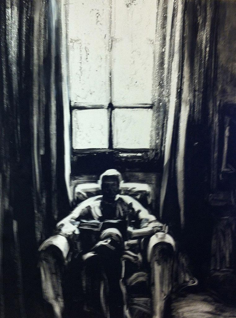Reading Beckett, print by Lisbeth Firmin