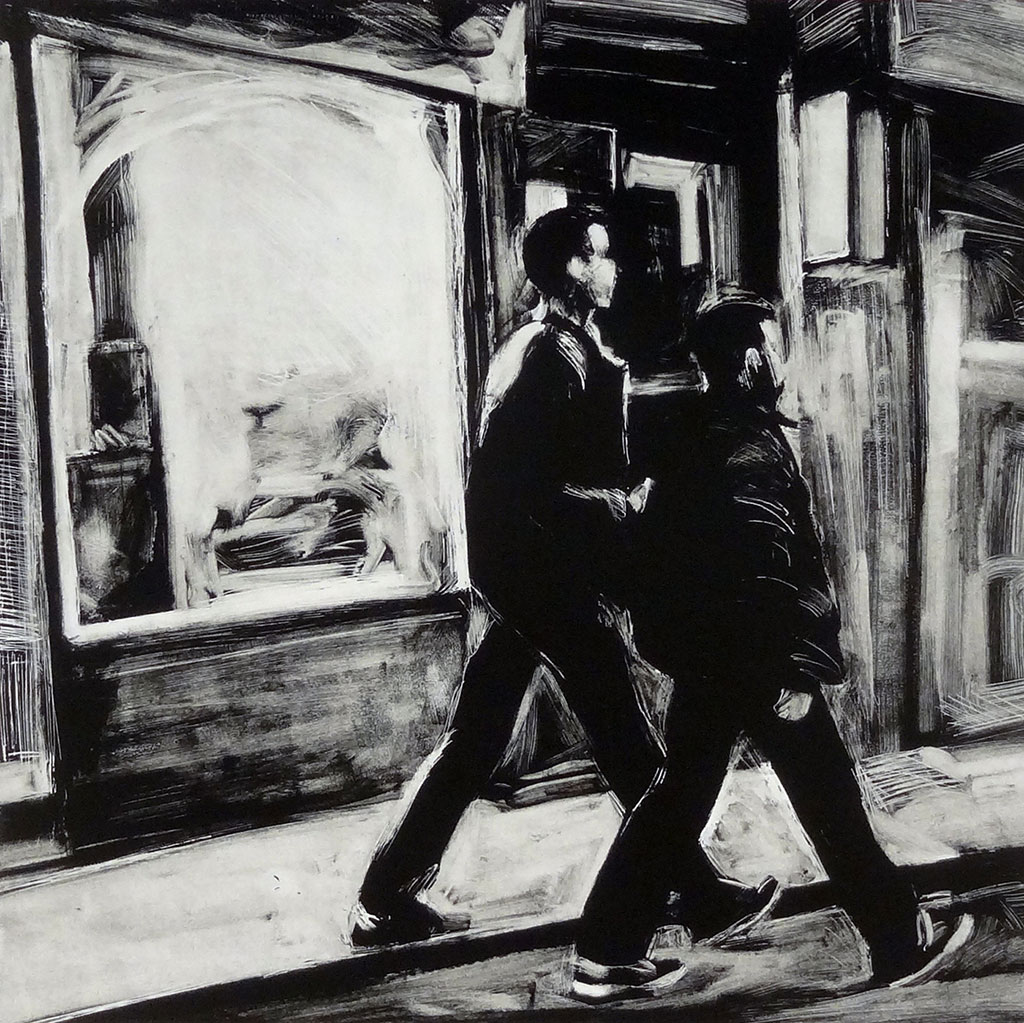 Two Guys, Chinatown, print by Lisbeth Firmin