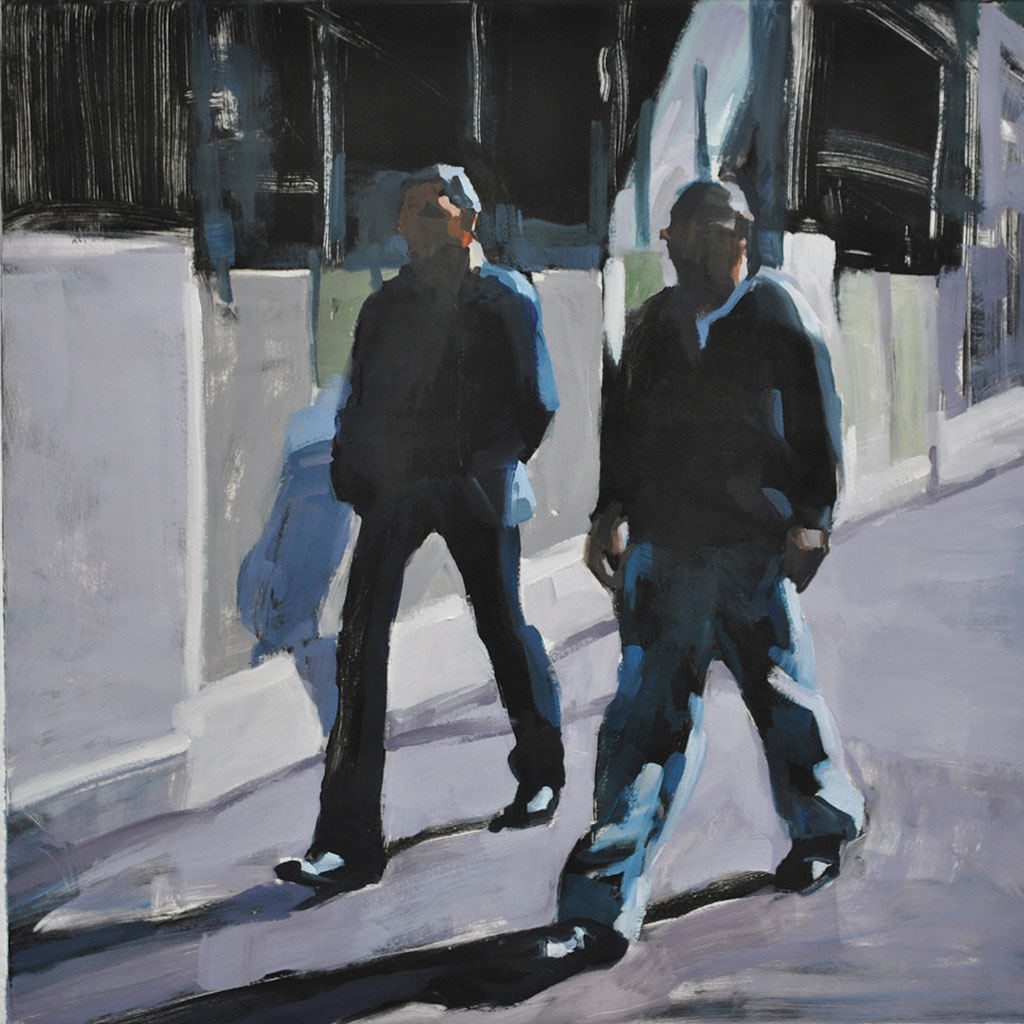 Two Guys, Downtown Philly, print by Lisbeth Firmin