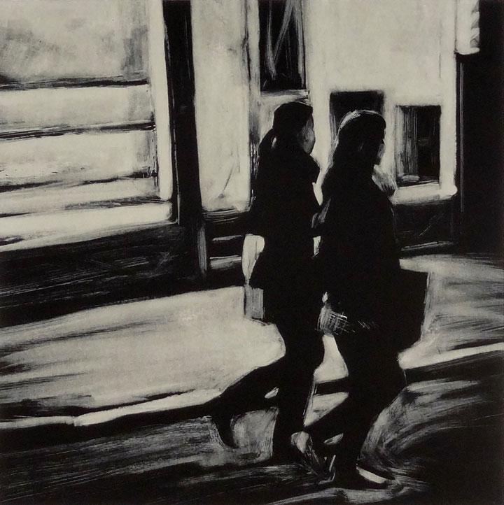 Two Women, Chinatown, print by Lisbeth Firmin