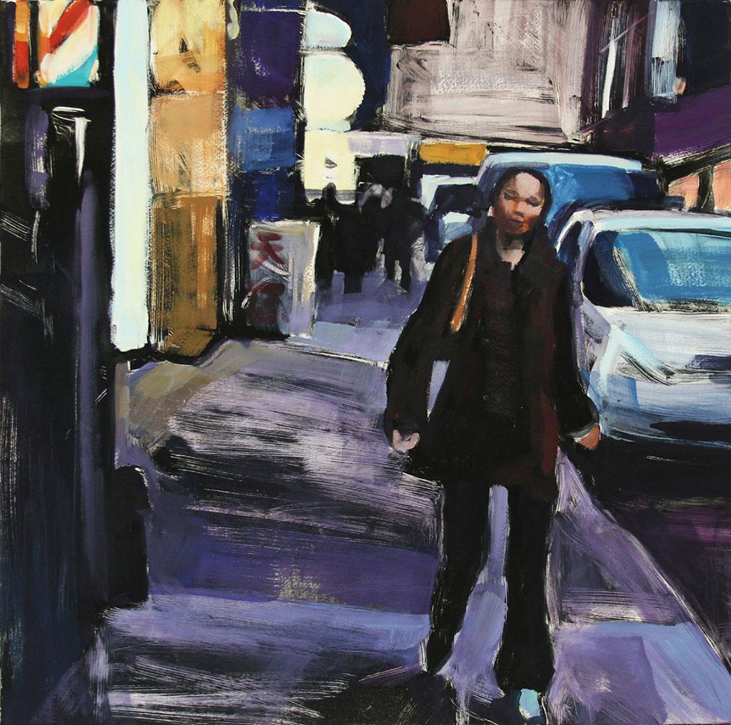 Walking Down Pell Street, print by Lisbeth Firmin