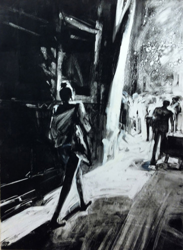 Woman Walking, Barcelona, print by Lisbeth Firmin