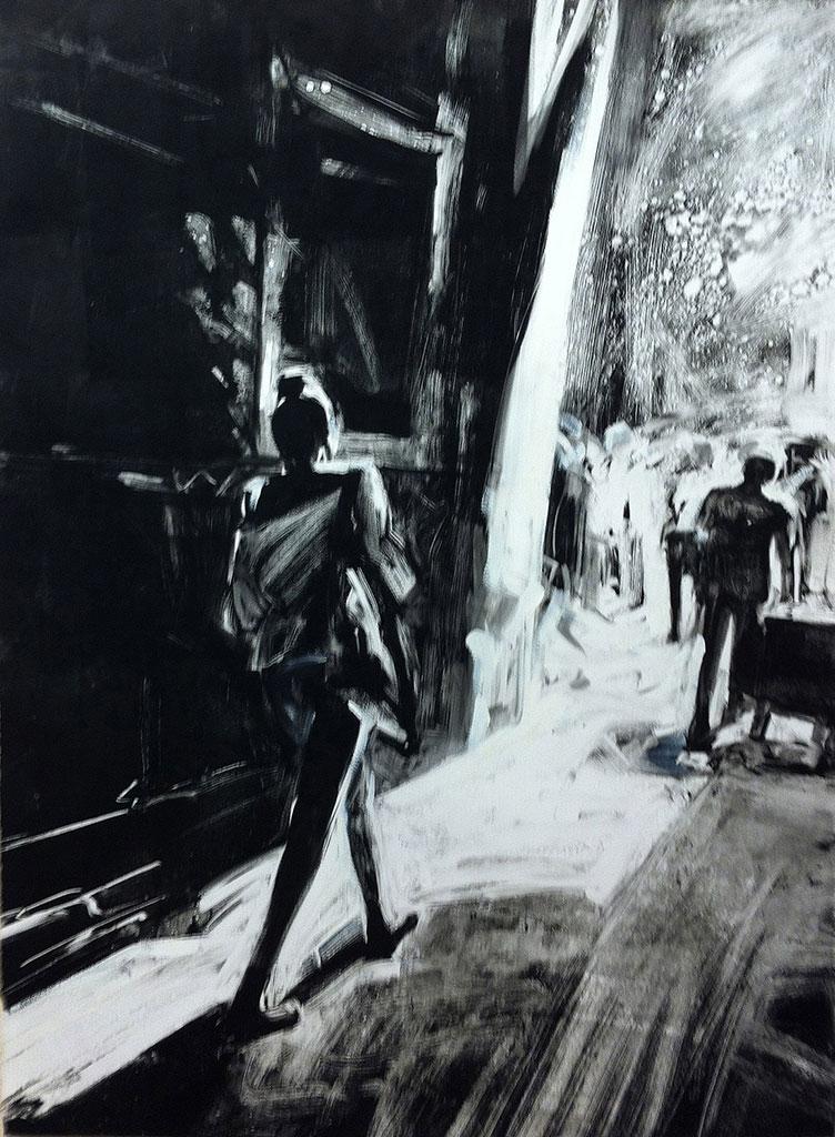 Woman Walking, Barcelona, print by Lisbeth Firmin
