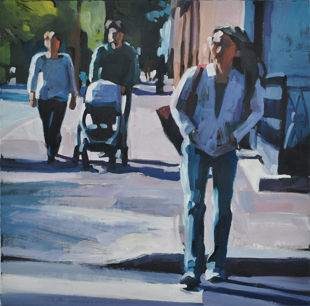 Woman Walking with Couple, print by Lisbeth Firmin