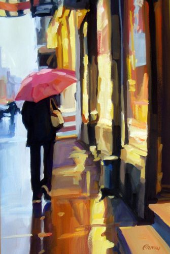 Window Shopping in the Rain gouache