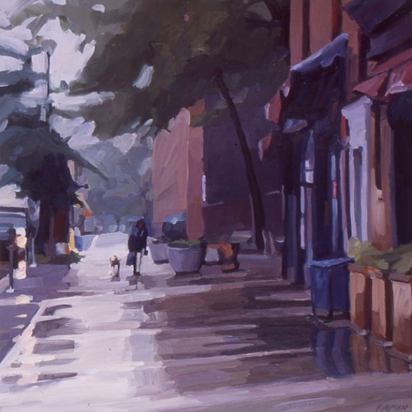 Sixth Ave. in the Rain, oil painting by Lisbeth Firmin