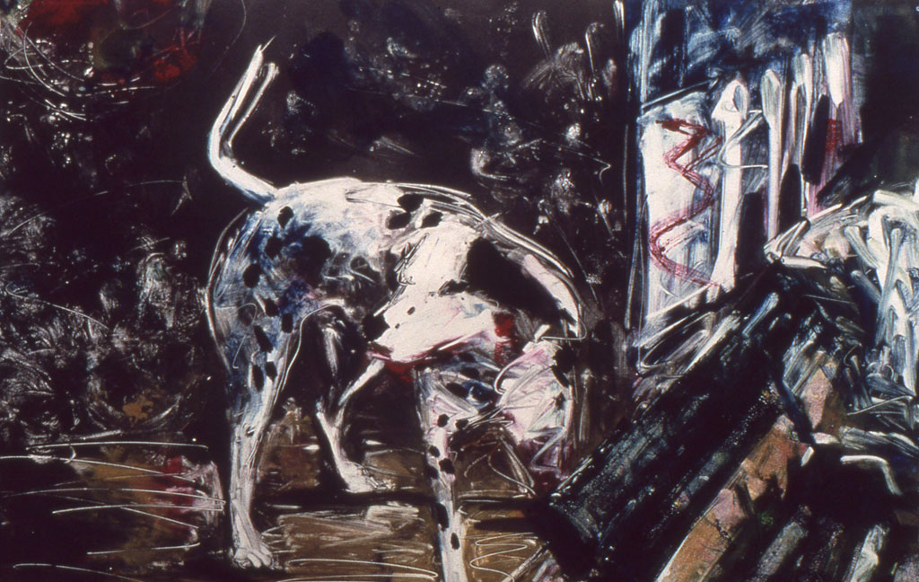 Coney Island Dog II, monoprint by Lisbeth Firmin
