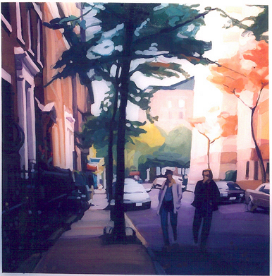 Couple Walking, West Village, gouache
