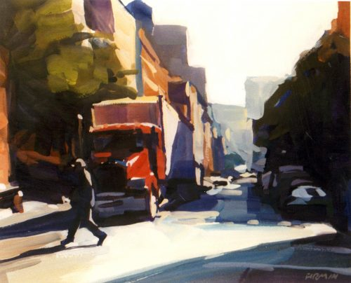 Crossing West Broadway, gouache