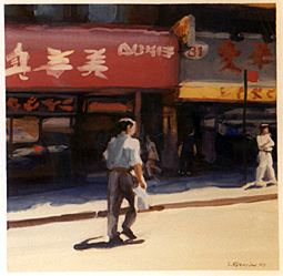 Man Walking, Chinatown gouache