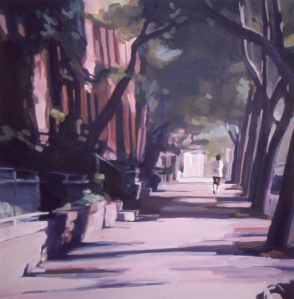 Morning Walk, gouache by Lisbeth Firmin