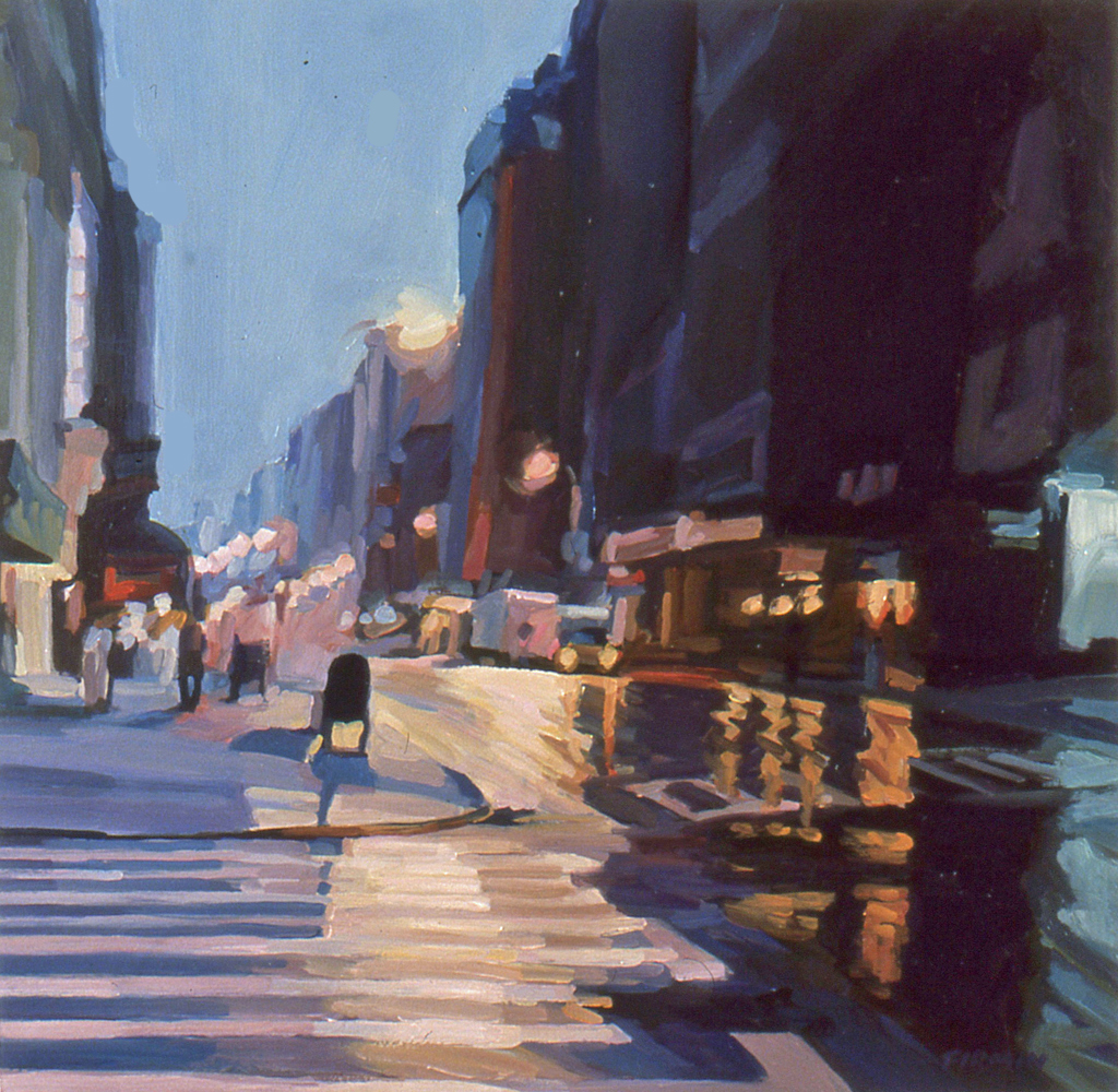 Oil Slicked Street, Broadway, oil painting by Lisbeth Firmin
