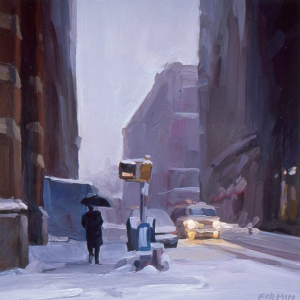 Snowstorm, Prince Street, oil painting by Lisbeth Firmin
