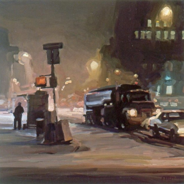 Snowstorm on Houston Street, oil painting by Lisbeth Firmin