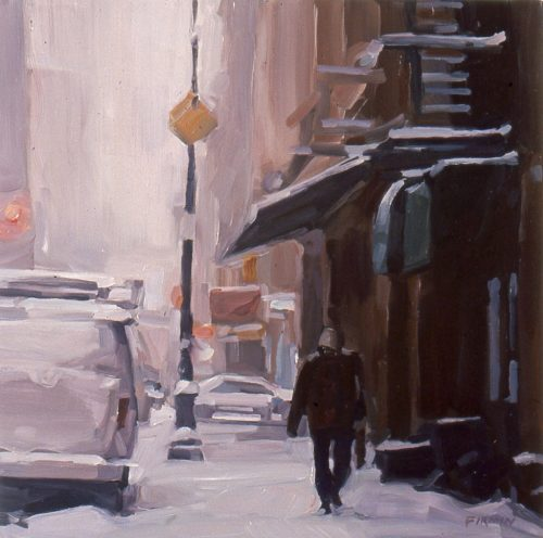 Snowy Morning, Mercer Street, oil on wood panel by Lisbeth Firmin