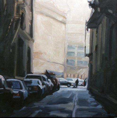 St. John's Lane, oil painting by Lisbeth Firmin