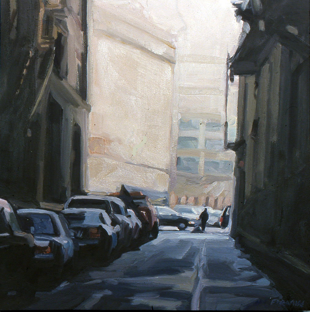 St. John's Lane, oil painting by Lisbeth Firmin